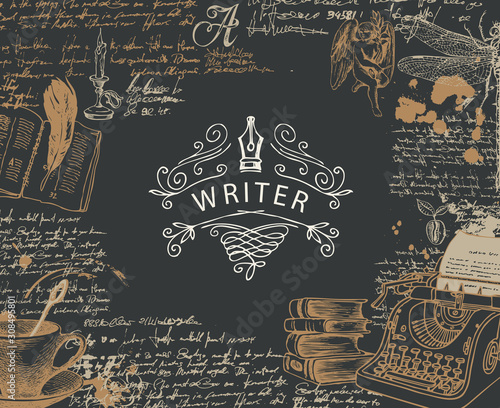 Vector banner on a writers theme with sketches and place for text in retro style on black background. Abstract illustration with hand-drawn typewriter, books, angel, dragonfly, handwritten notes