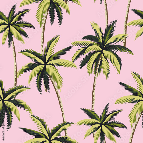Cuadros en Lienzo Tropical green palm trees floral seamless pattern pink background