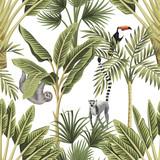 Tropikalne zwierzęta vintage, tukan, palmy, bananowiec kwiatowy wzór bezszwowe białe tło. Tapeta egzotycznych dżungli botanicznych. - 308496642