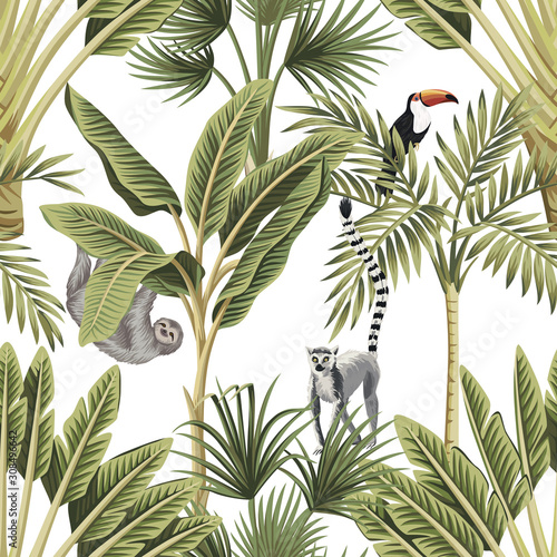 mata magnetyczna Tropical vintage animals, toucan, palm trees, banana tree floral seamless pattern white background. Exotic botanical jungle wallpaper.