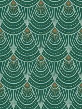 Art Nouveau Seamless Pattern In Green Colors. Vintage Elegant Background