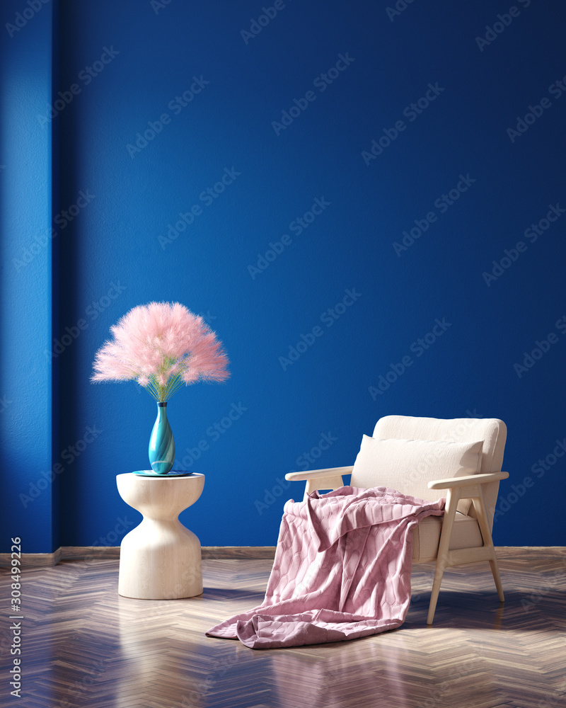 Fototapeta Concept Classic Blue color of the Year 2020 in interior, 3d render