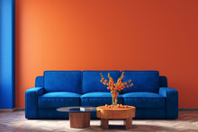 Modern Home Interior In Trendy Colors Of The Year 2020,  3d Render