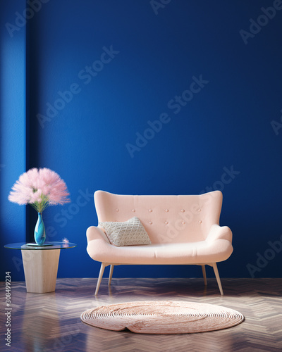 Fototapety, obrazy: Concept Classic Blue color of the Year 2020 in interior, 3d render