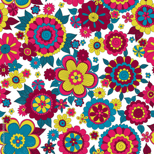 Photo Psychedelic hippie background with flowers