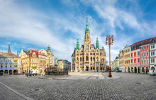 Liberec, Czechia. Panoramic View Of Main Square With Town Hall Building And Fountain