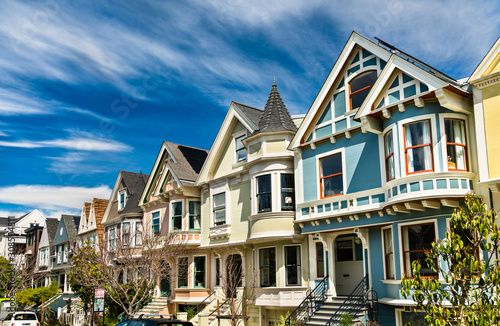 Traditional Victorian houses in San Francisco, California Canvas Print
