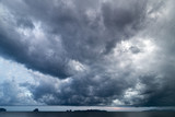 dark cloudy sky above sea before storm is coming