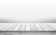 Wooden Gray Table Top With Aged Surface, Realistic Vector Illustration. Vintage Dining Table Made Of Wood, Realistic Plank Texture. Empty Desk Top Isolated On Transparent Wall.