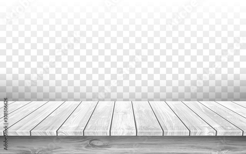Obraz Wooden gray table top with aged surface, realistic vector illustration. Vintage dining table made of wood, realistic plank texture. Empty desk top isolated on transparent wall. - fototapety do salonu