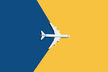 Flat Lay Design Of Travel Concept With Plane On Blue And Yellow Background With Copy Space