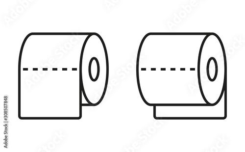 Fotografie, Obraz Set of two toilet paper line icons.Vector