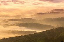 Beautiful Fog Coverage Mountain Valley And Sunlight In The Morning Colorful,Sri Nan Park,Nan,Thailand