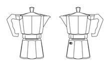 Geyser Coffee Maker. Vector Illustration.