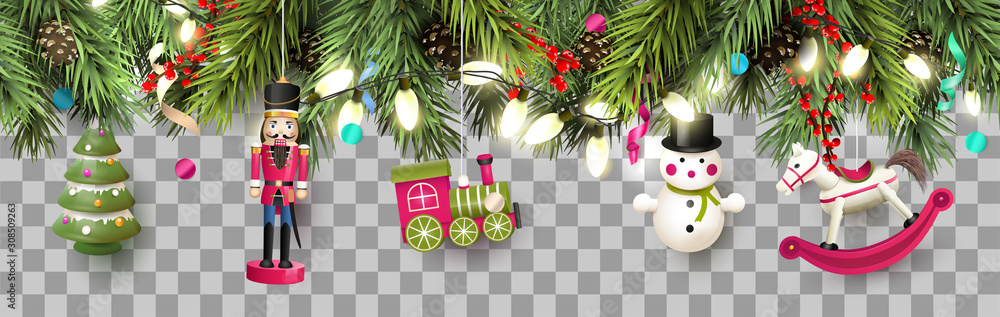 Fototapeta Christmas border with traditional wooden toys and branches.