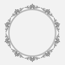 Isolated Beautiful Patterned Frame.Ornament Pattern.Can Be Used For Designer Wallpapers, For Textile, Packaging, Printing Or Any Desired Idea.Circle Ornament