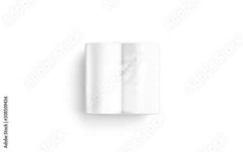 Photo Blank white paper towel transparent pack mockup lying, top view