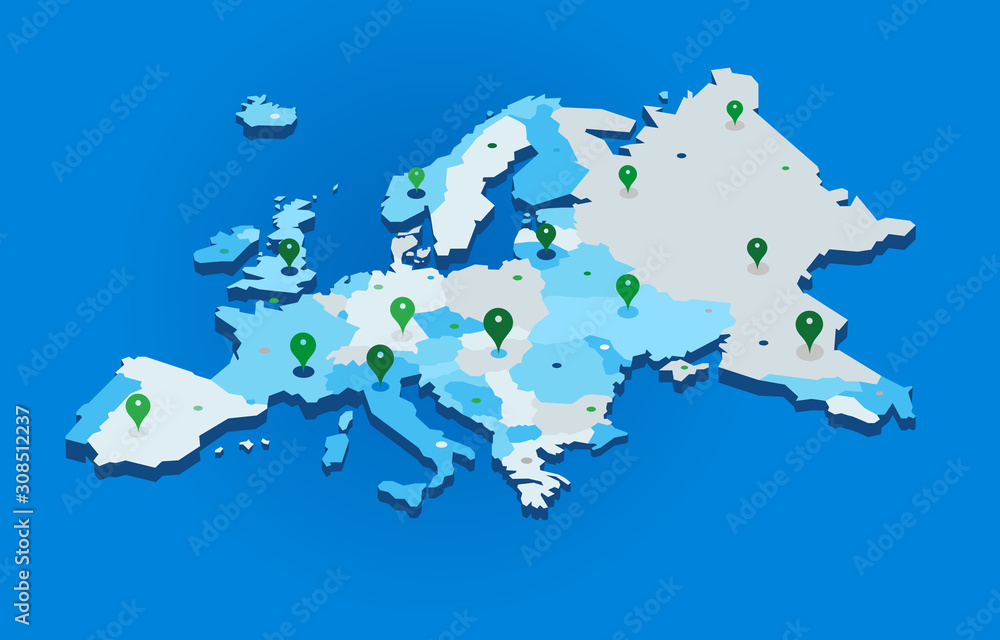 Fototapeta 3d europe map with gps pins - vector