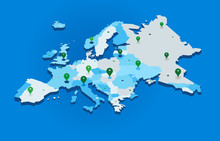 3d Europe Map With Gps Pins - ...