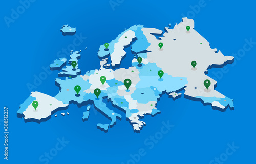 3d europe map with gps pins - vector Fototapet