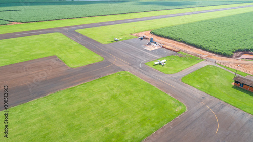 Aerial view of paved airplane runway on Brazil Wallpaper Mural