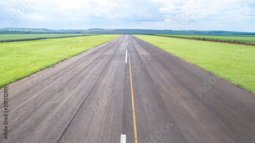 Aerial view of paved airplane runway on Brazil Canvas Print