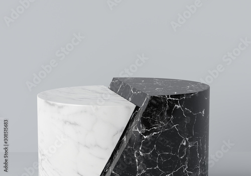 Fototapeta Product display platforms. Two steps white and black marble podium isolated. Cylinder display. 3d rendering. obraz