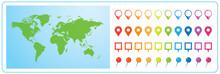 世界地図 ビジネス マップ ピンとマーカーのセット