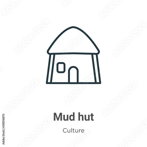 Fotomural Mud hut outline vector icon