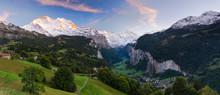 Panorama Of Lauterbrunnen Valley And Staubbach Fall, Switzerland