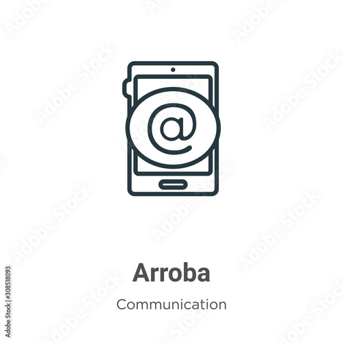 Arroba outline vector icon Canvas Print