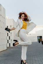 Happy Businesswoman In White P...