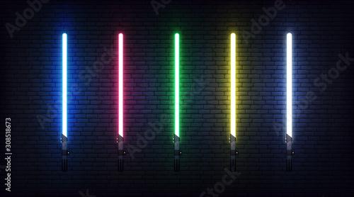 Fototapeta Light saber set. Futuristic realistic laser weapon