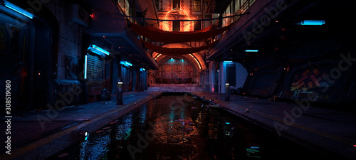 Fototapeta Beautiful neon night in a cyberpunk city. Photorealistic 3d illustration of the futuristic city. Empty street with blue neon lights reflecting in a water. obraz