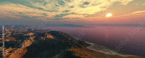 Bay at sunset, rocky coast at sunrise, seascape and cliffs. 3d rendering. #308521466
