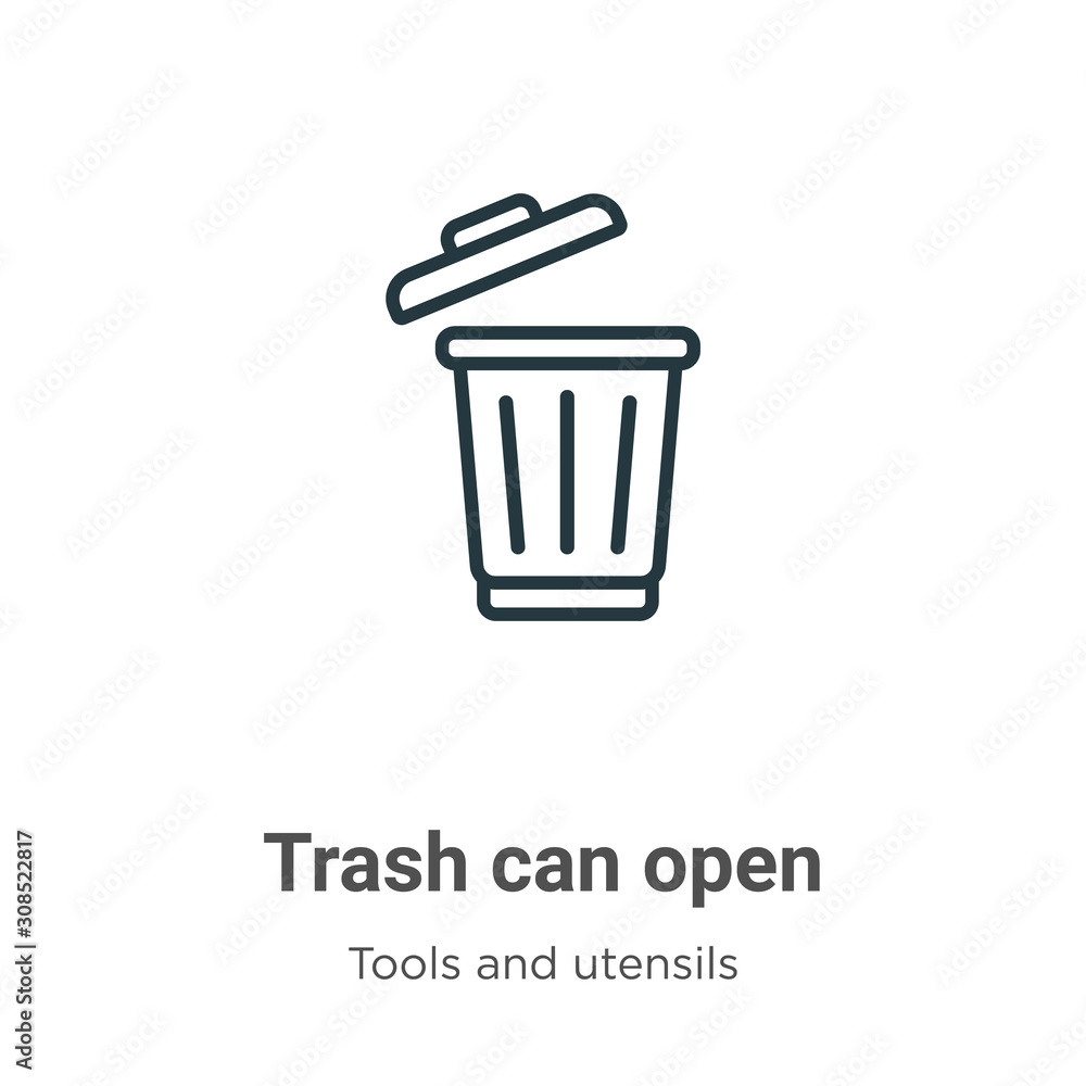 Fototapeta Trash can open outline vector icon. Thin line black trash can open icon, flat vector simple element illustration from editable tools and utensils concept isolated on white background