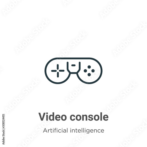 Fototapeta Video console outline vector icon. Thin line black video console icon, flat vector simple element illustration from editable augmented reality concept isolated on white background obraz na płótnie