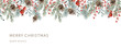 Xmas nature design border, text Merry Christmas, white background. Green pine, fir twigs, cones, red berries. Vector illustration. Greeting banner template. Winter holidays forest