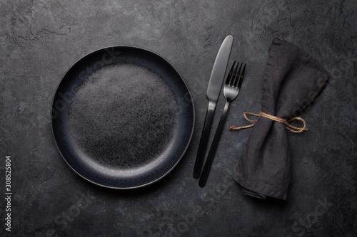 Obraz Empty plate, fork and knife - fototapety do salonu