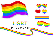 LGBTQ Pride Month Vector Set Of Elements In Rainbow Colors Like: Heart, Pride Flag, Rainbow Ribbons, Text. LGBT Lesbian, Gay, Bisexual And Transgender Symbols. Banner Or Poster Template. Clip Art
