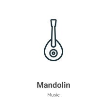 Mandolin Outline Vector Icon. Thin Line Black Mandolin Icon, Flat Vector Simple Element Illustration From Editable Music Concept Isolated On White Background