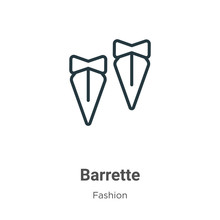 Barrette Outline Vector Icon. Thin Line Black Barrette Icon, Flat Vector Simple Element Illustration From Editable Fashion Concept Isolated On White Background