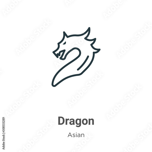 Dragon outline vector icon. Thin line black dragon icon, flat vector simple element illustration from editable asian concept isolated on white background Wall mural
