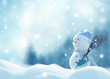 canvas print picture Merry Christmas and happy New Year greeting card with copy-space. Happy snowman with a broom in hand, standing in Christmas landscape. Snow background. Winter fairytale.
