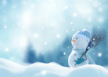 Merry Christmas And Happy New Year Greeting Card With Copy-space. Happy Snowman With A Broom In Hand, Standing In Christmas Landscape. Snow Background. Winter Fairytale.