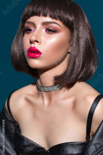 Portrait of young beautiful brunette model with colorful professional make up, b Fotobehang