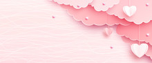 Pink Banner Background In Papercut Realistic Style. Paper Clouds, Heart On String, Pearls, Light Line Texture. Love Party Invitation Template