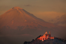 The Popocatepetl With Our Lady Of The Remedies Church In The Foreground
