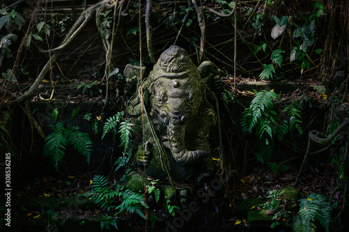 Foto op Aluminium Historisch mon. Statue of ganesh covered in moss and ferns in bali
