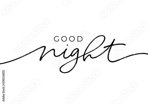 Good night - calligraphy vector phrase Canvas Print